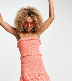 Присборенное платье мини без бретелек с оборками и мелким цветочным принтом ASYOU-Оранжевый цвет