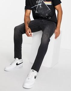 Черные выбеленные зауженные джинсы с необработанным низом River Island-Черный цвет