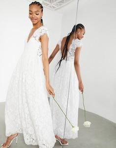 Кружевное свадебное платье с V-образным вырезом и короткими рукавами ASOS EDITION Alexandra-Белый