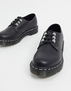 Черные туфли на плоской подошве с 3 люверсами Dr Martens 1461-Черный цвет