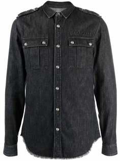 Balmain джинсовая рубашка с логотипом