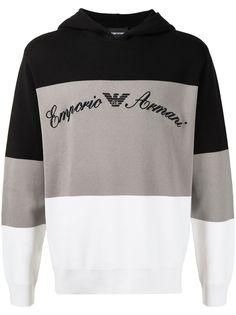 Emporio Armani худи в стиле колор-блок с вышитым логотипом