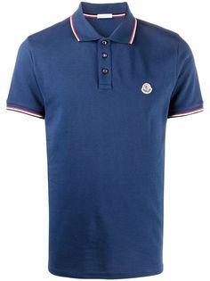 Moncler рубашка поло с полосками и нашивкой-логотипом