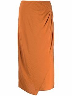 Vince юбка миди асимметричного кроя с драпировкой