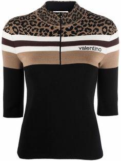 Valentino джемпер на молнии с леопардовым принтом