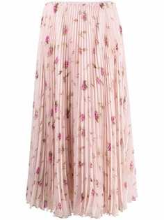 RED Valentino плиссированная юбка с цветочным принтом