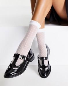Черные лакированные туфли на плоской подошве с ремешком на подъеме стопы ASOS DESIGN Merry-Черный цвет