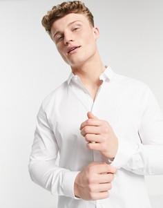 Белая облегающая рубашка с длинными рукавами River Island-Белый