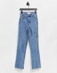 Выбеленные джинсы с декоративными разрезами Topshop Kort-Голубой