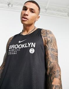 "Двусторонняя майка команды ""Brooklyn Nets"" Nike Basketball NBA Standard Issue-Черный цвет"