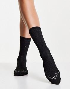 Черные носки с кошачьей мордочкой Accessorize-Черный цвет