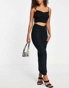 Черная юбка макси со сборками от комплекта Club L London-Черный цвет