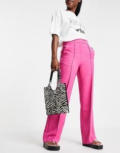 Ярко-розовые строгие брюки прямого кроя Topshop-Розовый цвет