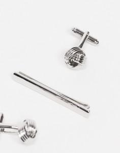 Комплект из запонок в виде узелков и зажима для галстука Topman-Серебристый