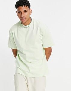 Светло-зеленая oversized-футболка с высоким воротом Topman-Зеленый цвет