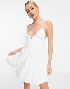 Ярусное летнее платье белого цвета с открытой спинкой Bershka-Белый