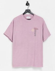 """Розовая oversized-футболка с принтом """"Uniform collective"""" Topman-Розовый цвет"""