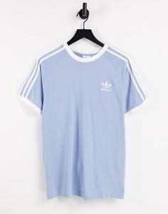 Голубая футболка с тремя полосками adidas Originals adicolor-Голубой