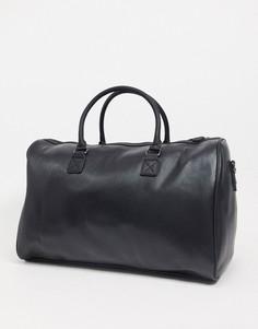 Черная спортивная сумка из искусственной кожи с тисненым логотипом ASOS Unrvlld Spply-Черный