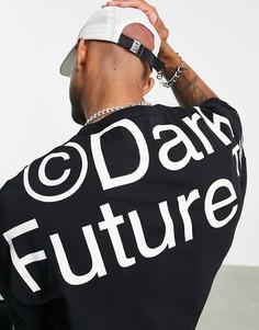 Oversized-футболка черного цвета из плотного трикотажа с рукавами до локтя и крупным принтом логотипа ASOS Dark Future-Черный цвет