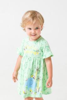 Повседневное платье с оригинальным принтом Crockid Зеленый 80 КР 5681/к287