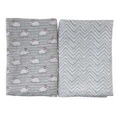 "Пеленка муслиновая ""Шеврон. Кролики"", 120х120 см, серый, 2 штуки Baby Nice"