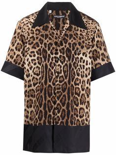 Dolce & Gabbana рубашка с короткими рукавами и леопардовым принтом