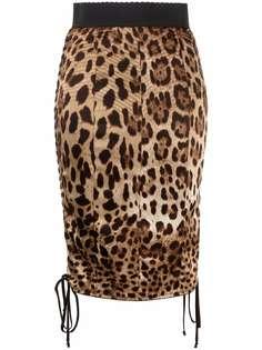 Dolce & Gabbana юбка-карандаш с леопардовым принтом и шнуровкой