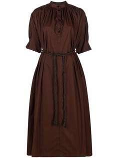Jil Sander длинное платье с объемными рукавами
