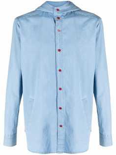 Kiton джинсовая рубашка с капюшоном