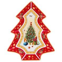 Блюдо-елка с новым годом! 26см красное Lefard (85-1602)