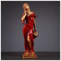 """Фигура """"Девушка с корзиной"""" бронза/красный 14х14х55см 3387057 Хорошие сувениры"""