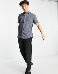 Рубашка с короткими рукавами BOSS Rash-Голубой