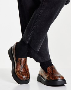 Светло-коричневые туфли на плоской подошве с эффектом змеиной кожи ASOS DESIGN Mutton-Коричневый цвет