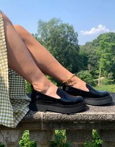 Черные лакированные туфли на плоской подошве ASOS DESIGN Mutton-Черный цвет