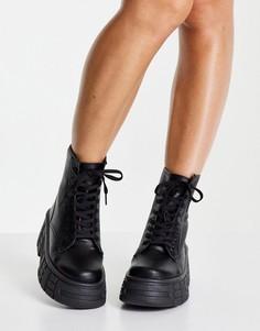 Черные массивные ботинки из искусственной кожи Miss Selfridge Adele-Черный цвет