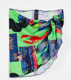 Парео из переработанных материалов с неоновым фотопринтом COLLUSION Plus-Зеленый цвет
