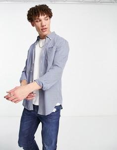 Рубашка в клеточку с длинными рукавами Ben Sherman-Голубой