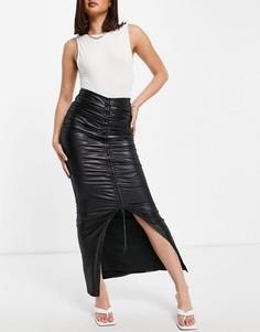 Черная присборенная спереди юбка макси с высоким разрезом Club L London-Черный цвет