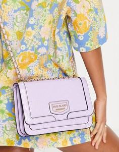 Фиолетовый лакированный портфель с тиснением River Island-Фиолетовый цвет