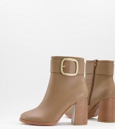 Серо-коричневые ботильоны на блочком каблуке с пряжкой для широкой стопы ASOS DESIGN Repeat-Светло-бежевый цвет