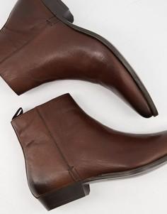 Коричневые кожаные ботинки на каблуке в стиле вестерн Silver Street-Коричневый цвет