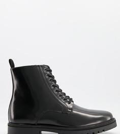 Кожаные ботинки черного цвета на шнуровке и массивной подошве для широкой стопы Silver Street-Черный цвет