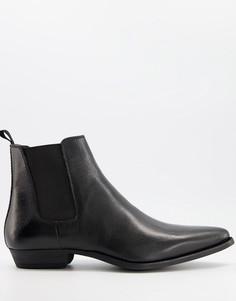 Черные кожаные ботинки челси в стиле вестерн на кубинском каблуке Silver Street-Черный цвет
