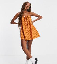 Льняное летнее платье в клетку в стиле 70-х COLLUSION-Оранжевый цвет