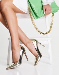 Золотистые остроносые туфли-лодочки на высоком каблуке ASOS DESIGN Penza-Золотистый
