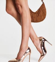 Туфли-лодочки цвета розового золота на каблуке для широкой стопы с острым носком ASOS DESIGN Penza-Золотистый