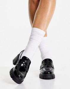 Черные лакированные лоферы на толстой подошве и среднем каблуке ASOS DESIGN Storm-Черный цвет