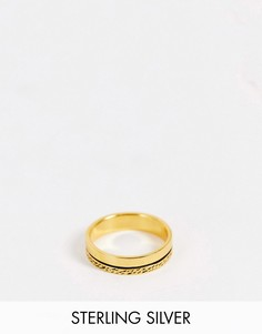 Фактурное кольцо из стерлингового серебра с позолотой14карат ASOS DESIGN-Золотистый