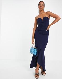 Темно-синее платье-бандо макси TFNC-Темно-синий